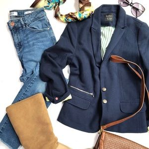 Zara lined stretch blazer & Guess skinny jeans set